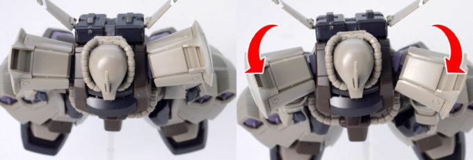 HGUCグフ・フライトタイプの肩の可動域のガンプラレビュー画像です