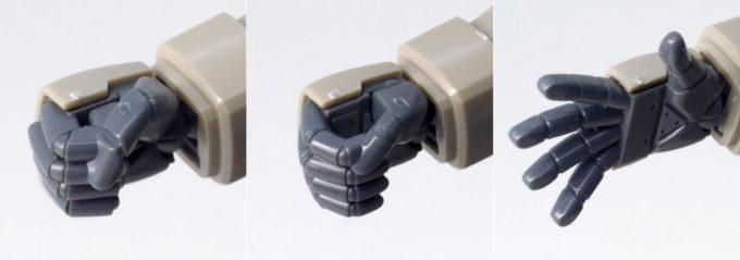 HGUCグフ・フライトタイプの右手のハンドパーツのガンプラレビュー画像です