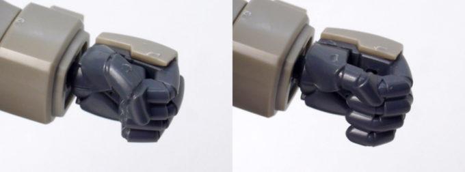 HGUCグフ・フライトタイプの左手のハンドパーツのガンプラレビュー画像です
