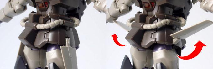 HGUCグフ・フライトタイプの腰部ウイングの可動ガンプラレビュー画像です