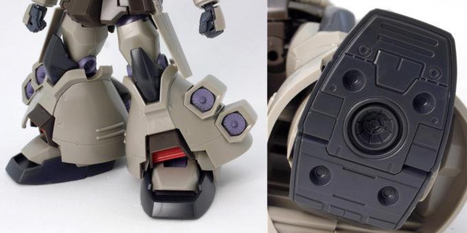 HGUCグフ・フライトタイプの脚部と足裏のガンプラレビュー画像です