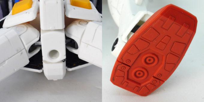 HGUCガンダムVer.G30thの股下と足裏のガンプラレビュー画像です