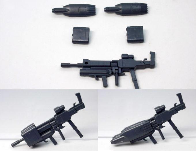HGBCティルトローターパックをライフルに装着したガンプラレビュー画像です