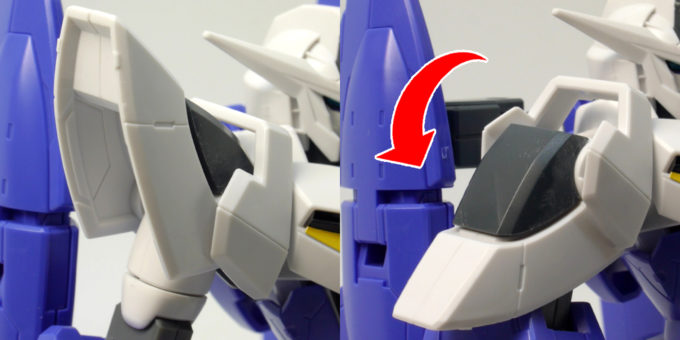 HGアイズガンダム(1.5ガンダム)の肩可動のガンプラレビュー画像です