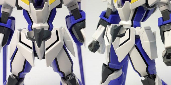 HGアイズガンダム(1.5ガンダム)の腰部のガンプラレビュー画像です