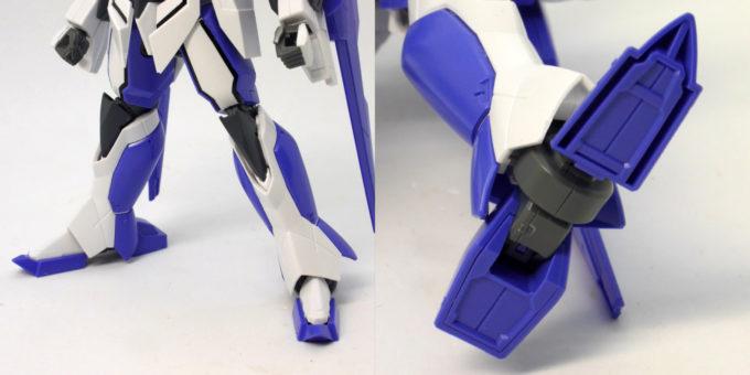 HGアイズガンダム(1.5ガンダム)の脚部と足裏のガンプラレビュー画像です
