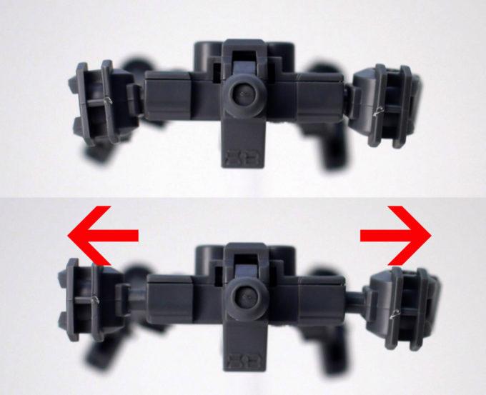 クロスシルエットフレーム・ナイチンゲールに付属するSDフレームの肩の引き出しギミックのガンプラレビュー画像です