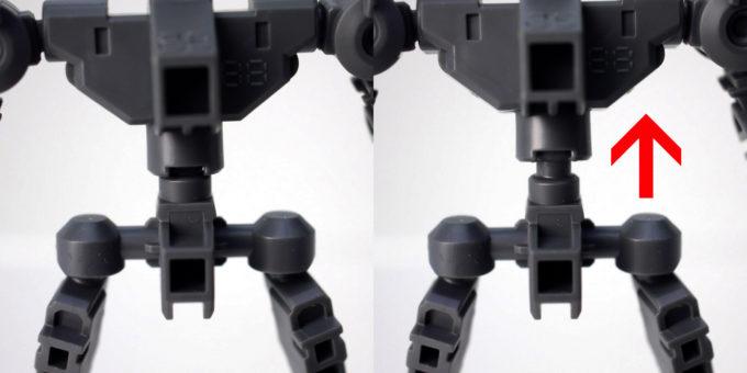 クロスシルエットフレーム・ナイチンゲールに付属するSDフレームの上半身が上がるギミックのガンプラレビュー画像です