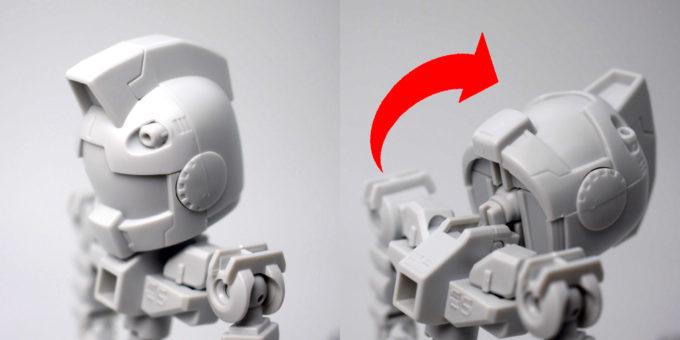 クロスシルエットフレーム・ホワイトの頭部可動域のガンプラレビュー画像です