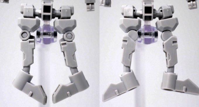 クロスシルエットフレーム・ホワイトの脚の可動域のガンプラレビュー画像です