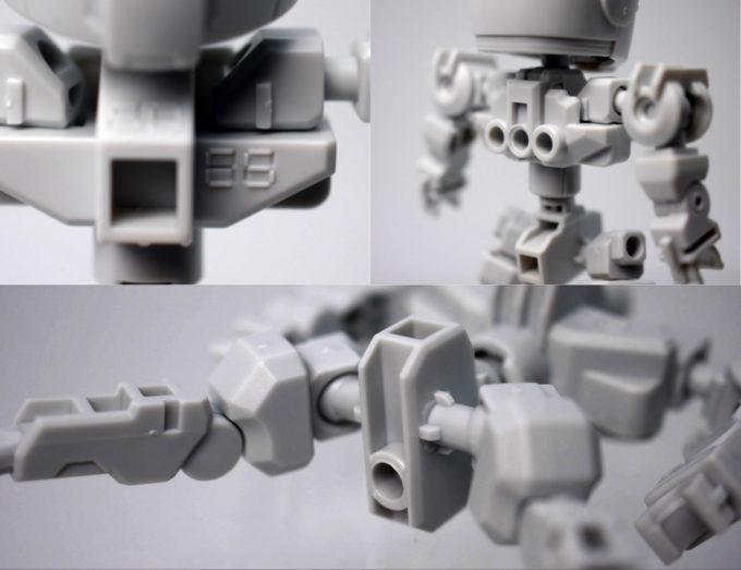 クロスシルエットフレーム・ホワイトの胸、背部、アクションベース用の穴のガンプラレビュー画像です