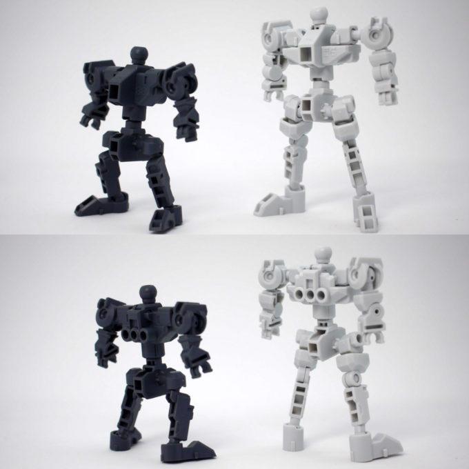 SDフレームとクロスシルエットフレーム・ホワイトの比較ガンプラレビュー画像です