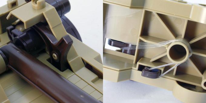 攻城兵器の投石車形態の投石ギミックのガンプラレビュー画像です