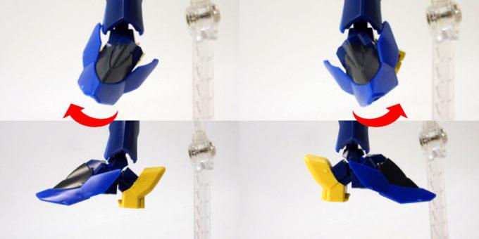 HGBD煌・ギラーガの足先端の可動域のガンプラレビュー画像です