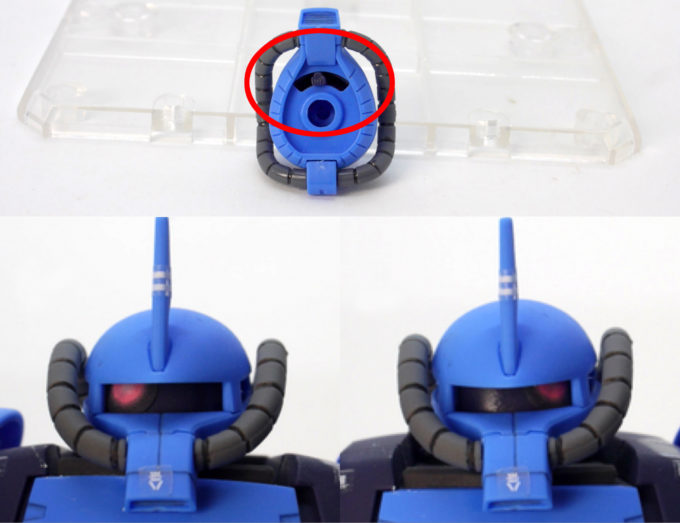 HGプロトタイプグフ(戦術実証機)のモノアイ可動のガンプラレビュー画像です