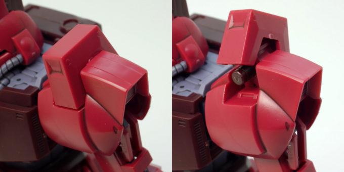 HGUCガルバルディβの肩のビームサーベルラックのガンプラレビュー画像です