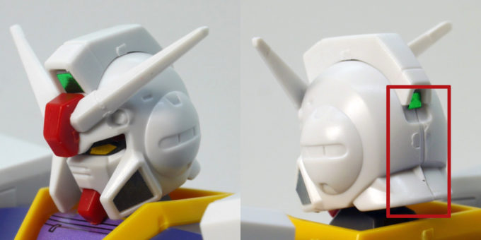 HGUCガンダムピクシーの頭部側面と後頭部のガンプラレビュー画像です
