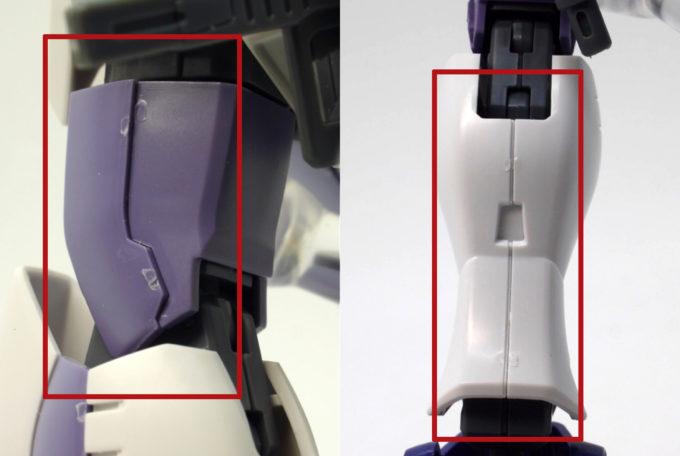HGUCガンダムピクシーの脚部の合わせ目のガンプラレビュー画像です