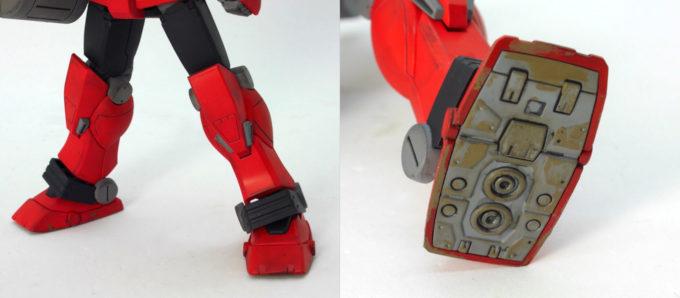 HGヘビーガンダム(イングリッド0専用機)の脚部と足裏の画像です