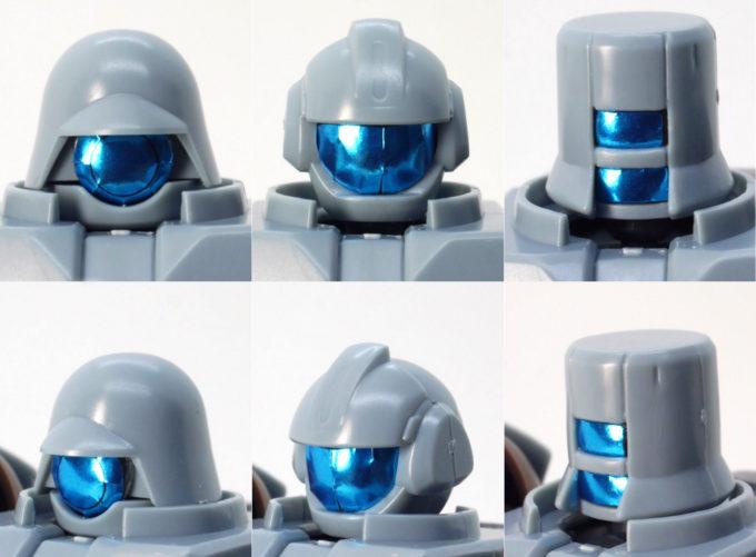 HGBDリーオーNPDの青いシールを貼った頭部のガンプラレビュー画像です