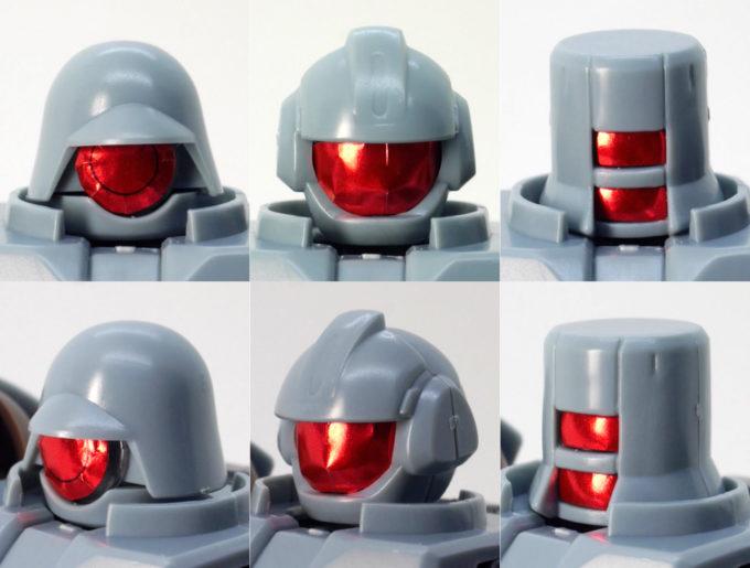 HGBDリーオーNPDの赤いシールを貼った頭部のガンプラレビュー画像です