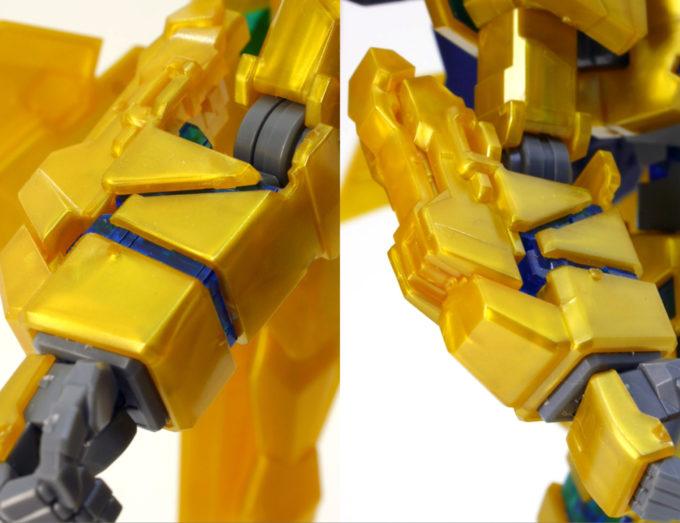 フェネクス(ナラティブバージョン)の腕部のガンプラレビュー画像です