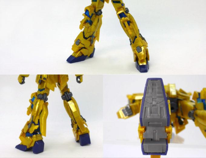 フェネクス(ナラティブバージョン)の脚部と足裏のガンプラレビュー画像です