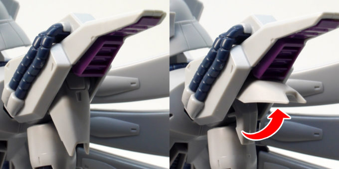 RE100ビギナ・ギナの肩カバー可動のガンプラレビュー画像です