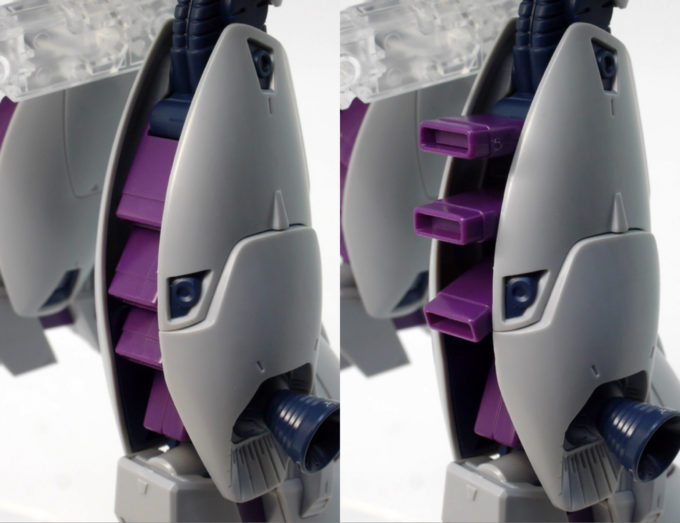RE100ビギナ・ギナの脚部後ろの可動ガンプラレビュー画像です