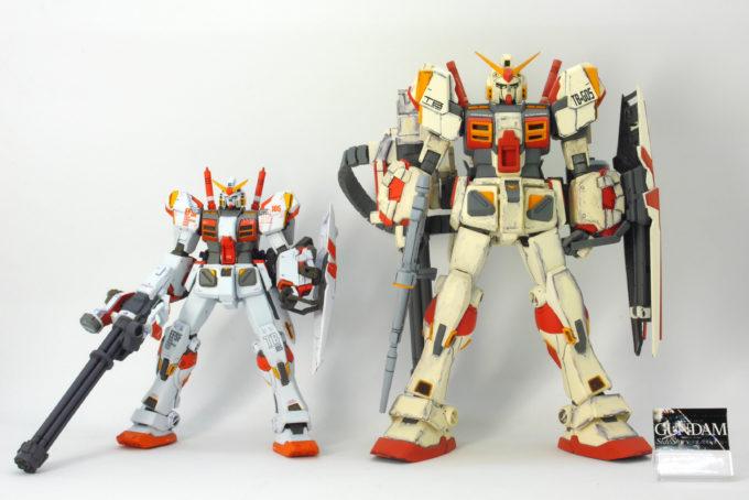 GFFガンダム5号機とMGガンダム5号機の比較画像です