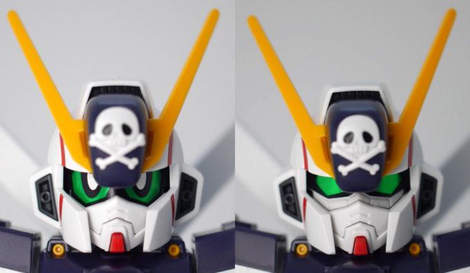 クロスシルエット・クロスボーンガンダムX1の頭部比較ガンプラレビュー画像です