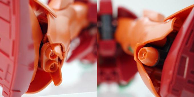 HGUCマラサイの脚部スラスターのガンプラレビュー画像です