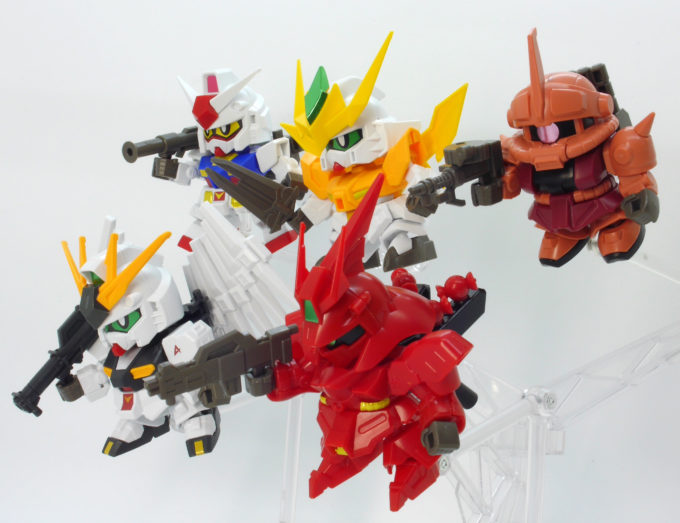 ミニプラのスーパーショックガンダムシリーズのガンプラ画像です