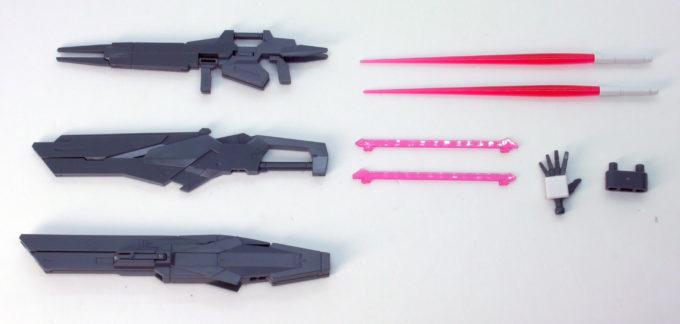 HGBDガンダムダブルオースカイの付属武器一覧画像です