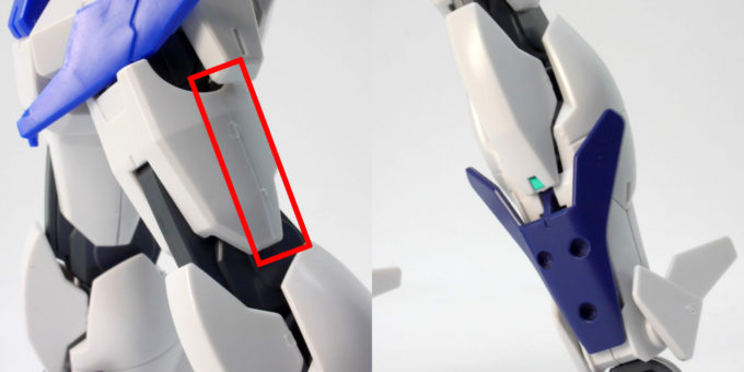 HGBDガンダムダブルオースカイの脚部側面の合わせ目のガンプラレビュー画像です