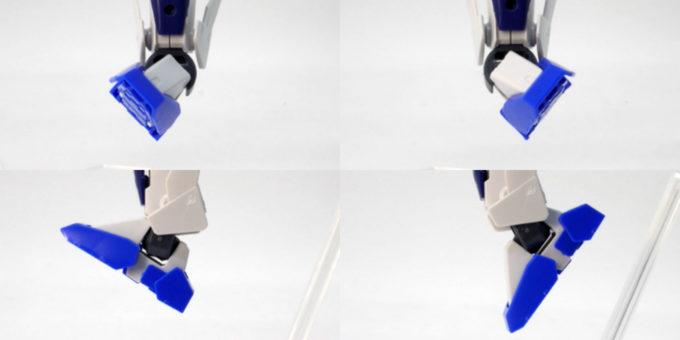 HGBDガンダムダブルオースカイの足先可動のガンプラレビュー画像です