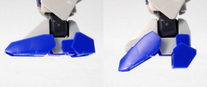 HGBDガンダムダブルオースカイの足先可動ギミックのガンプラレビュー画像です