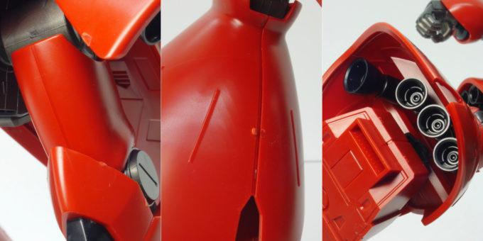 HGUCサザビーの脚部周辺合わせ目とバーニアのガンプラレビュー画像です