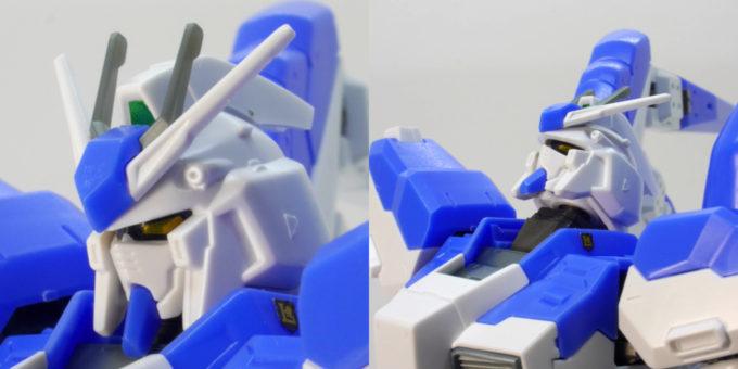 Hi-νガンダムの頭部可動のガンプラレビュー画像です