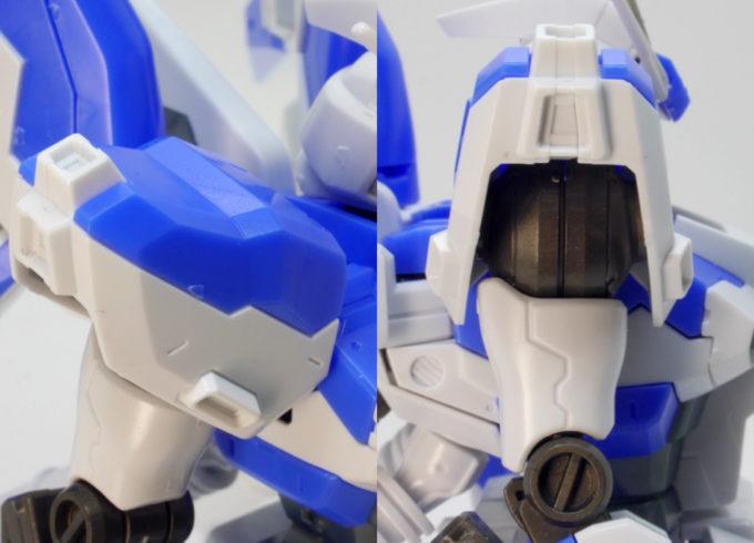 Hi-νガンダムの肩部のガンプラレビュー画像です