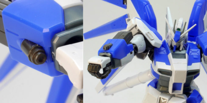 Hi-νガンダムの腕部マシンガンのガンプラレビュー画像です