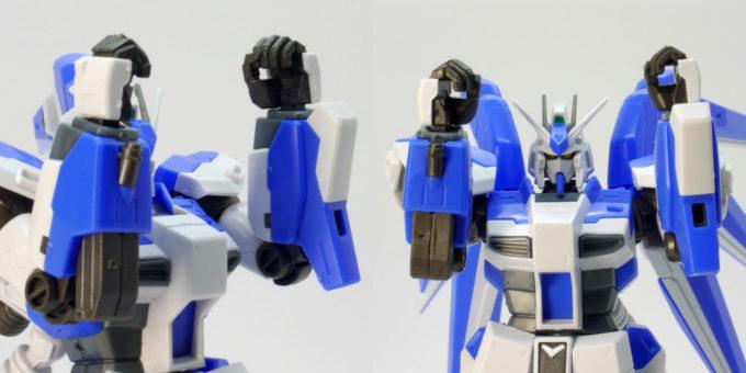 Hi-νガンダムの左右の腕の比較ガンプラレビュー画像です