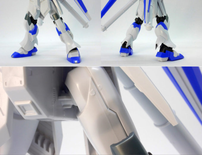 Hi-νガンダムの脚部のガンプラレビュー画像です