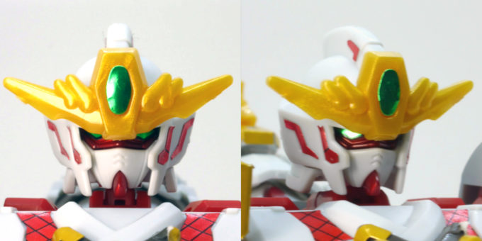 RX-零丸のリアル体型の頭部のガンプラレビュー画像です