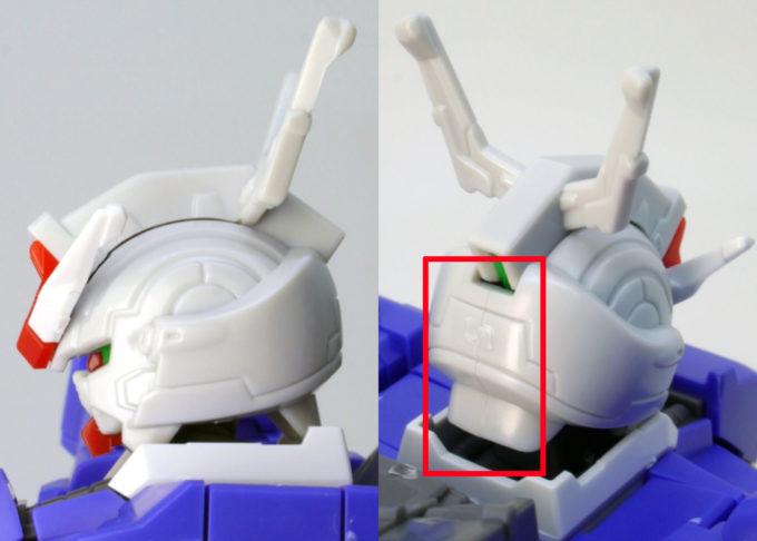 HGUCムーンガンダムの顔の合わせ目のガンプラレビュー画像です