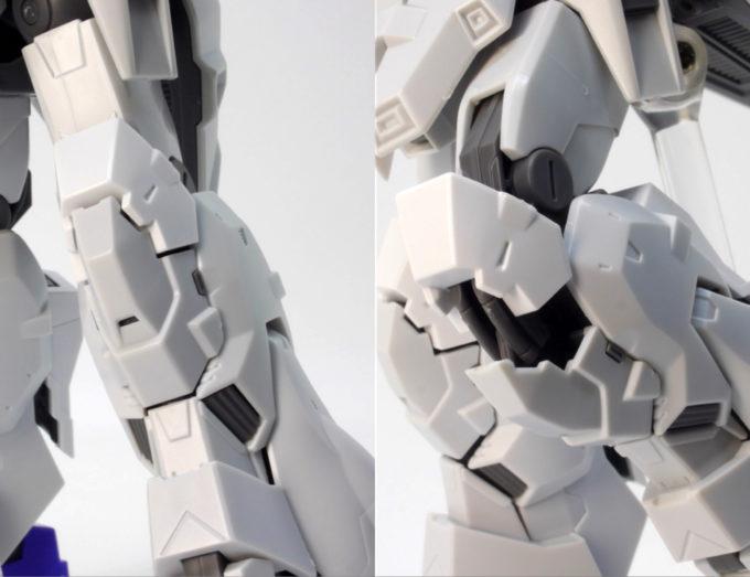 HGUCムーンガンダムの脚部可動のガンプラレビュー画像です