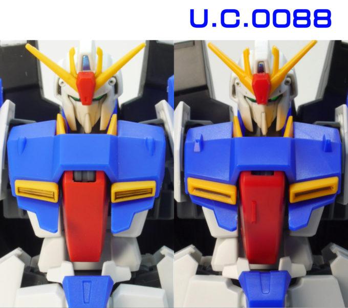 HGUCゼータガンダムU.C.0088の胴体の違い・比較ガンプラレビュー画像です