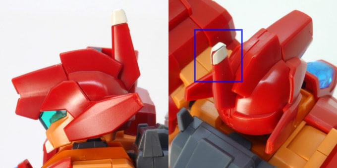 HGBDジェガンブラストマスターの顔のシールのガンプラレビュー画像です