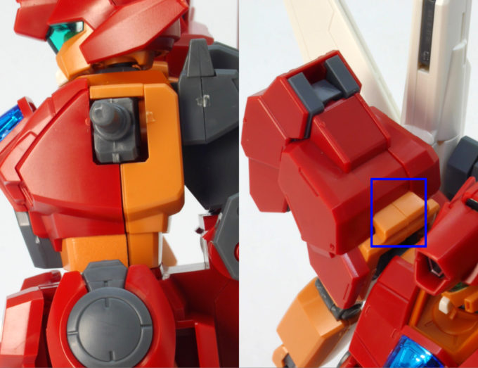 HGBDジェガンブラストマスターの胴体側面の合わせ目のガンプラレビュー画像です
