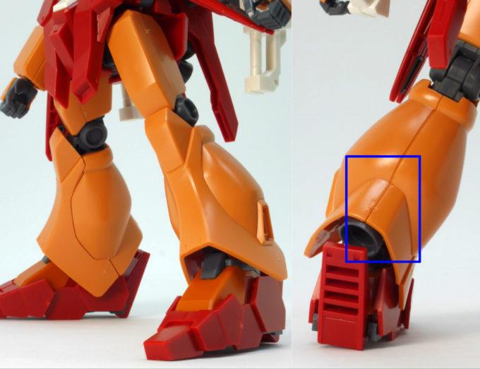 HGBDジェガンブラストマスターの脚部合わせ目のガンプラレビュー画像です